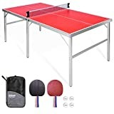 GoSports Midsize Outdoor Ping Pong Table in Red Racquets and Ball Bundle