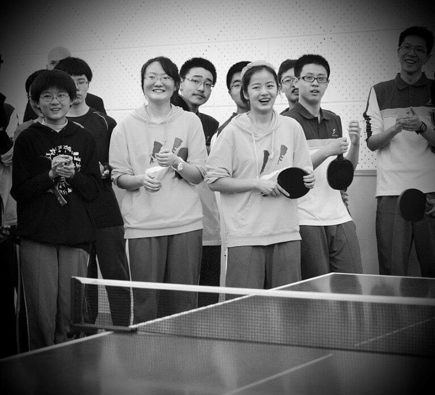 Chinese children enjoying table tennis training