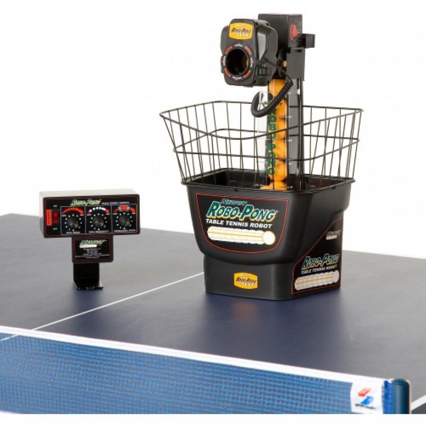 Robo-Pong-1040 with controller on a table tennis table