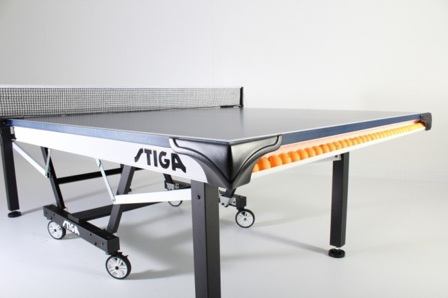 Stiga STS 420 indoor ping pong table ball rack view review